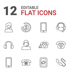 12 call icons vector