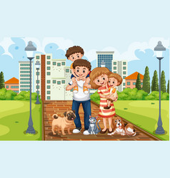a family at park vector image