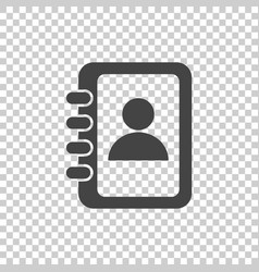 Address book icon contact note flat on isolated vector