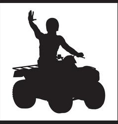 All terrain vehicle rider black silhouette vector