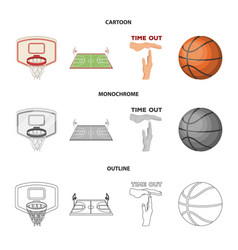 basketball and attributes cartoonoutline vector image
