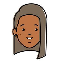 beautiful black woman head avatar character vector image