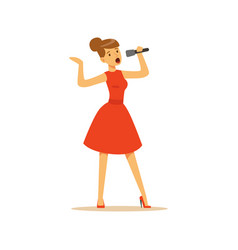 Beautiful woman singer in red dress singing with vector