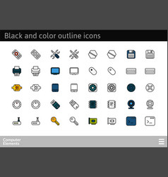 Black and color outline icons thin stroke line vector