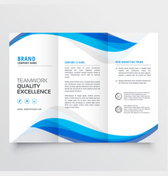 Blue wavy business trifold brochure template vector