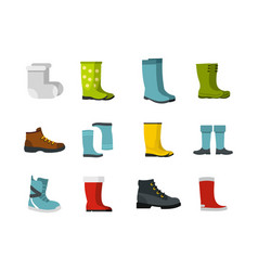 boots icon set flat style vector image