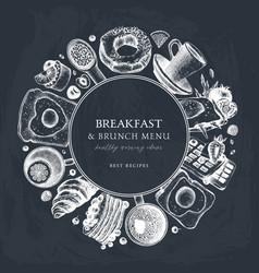breakfast table wreath on chalkboard morning food vector image