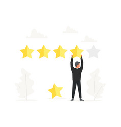 Businessman positive review and hold big star over vector