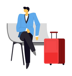 businessman waiting for flight on bench with vector image
