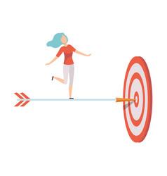 businesswoman standing on dart arrow to achieve vector image