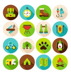 Camping hiking circle icons set vector