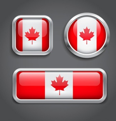 Canada flag glass buttons vector image