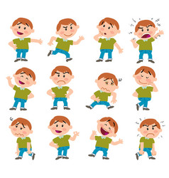 Cartoon character boy set vector