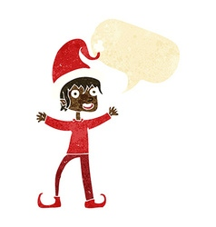 Cartoon excited christmas elf with speech bubble vector
