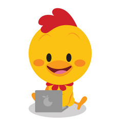 Chick with laptop art vector