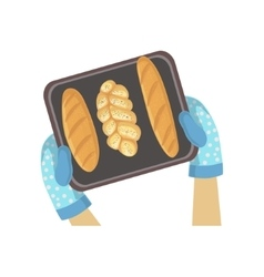 Child With Tray Of Bread Only Hands vector image