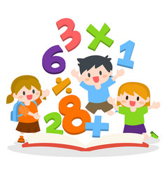 Children learning mathematics with opened books vector