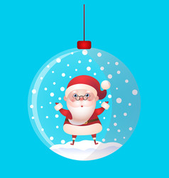 christmas toy snow ball with santa claus inside vector image