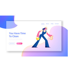 cleaning service website landing page female vector image