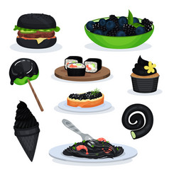 collection of food dishes of black color burger vector image