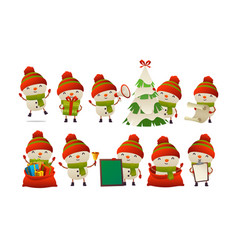 collection of happy cute christmas snowman vector image