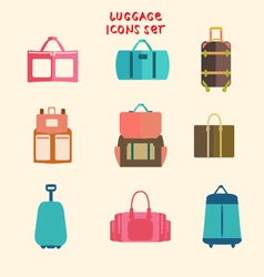 Collection of Travel bags set of flat design vector image