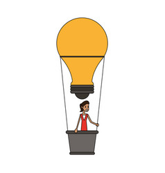 Color image cartoon ligth bulb hot air balloon vector