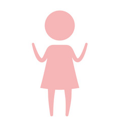 color pink pictogram silhouette girl in dress with vector image