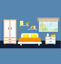 Cozy bedroom interior with furniture and window vector