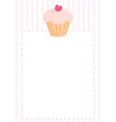 Cupcake with heart sweet pink menu vector image