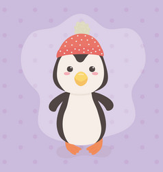 cute and little penguin character vector image