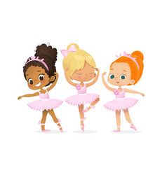 Cute ballerina girl dancer character training set vector