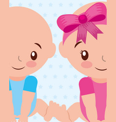 cute boy and gir baby characters vector image