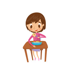 cute girl eating spaghetti with fork vector image
