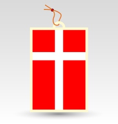 danish flag made in tag vector image