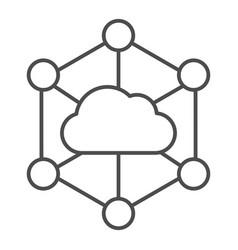Data cloud thin line icon computer storage vector