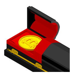 Death bitcoin in coffin rip cryptocurrency vector