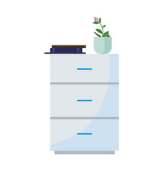 drawer with houseplant and magazine vector image
