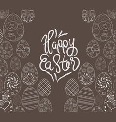Easter eggs hand drawn on chalk board vector