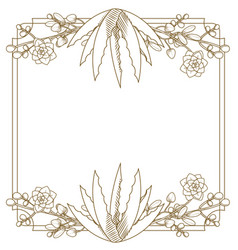 Emblem frame with flowers vector
