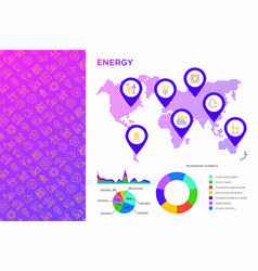 Energy infographics map and pointers vector
