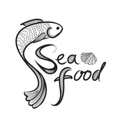 fish icon seafood sign fish menu restraunt cover vector image