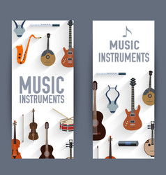 flat music instruments banners concept vector image