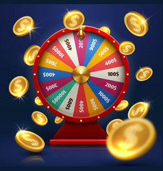 Fortune wheel and gold coins lucky chance in game vector