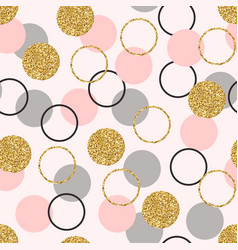 glitter circle seamless pattern golden circles vector image