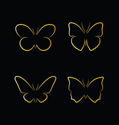 golden butterfly on black background insects vector image