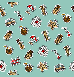Hawaii icons pattern vector