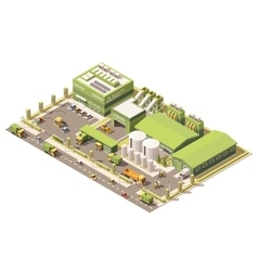 Isometric low poly garbage recycling center vector