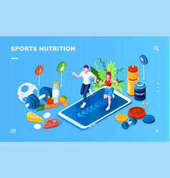 isometric screen for sport healthy nutrition app vector image