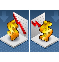 Isometric symbol of dollar with red arrow down vector
